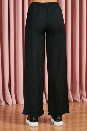 Sateen Kadın Siyah Beli Lastikli Bol Paça Pantolon 3