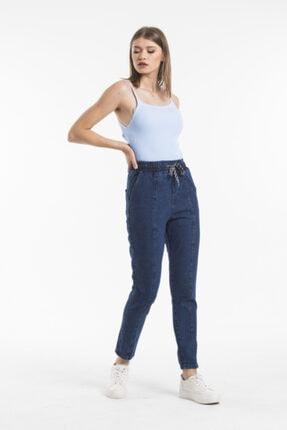 Sismo Butik Kadın Koyu Mavi Belden Lastikli ve İpli Likrasız Jeans 0