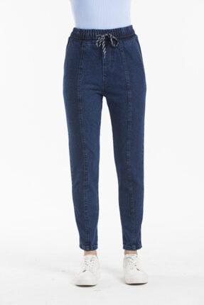 Sismo Butik Kadın Koyu Mavi Belden Lastikli ve İpli Likrasız Jeans 1