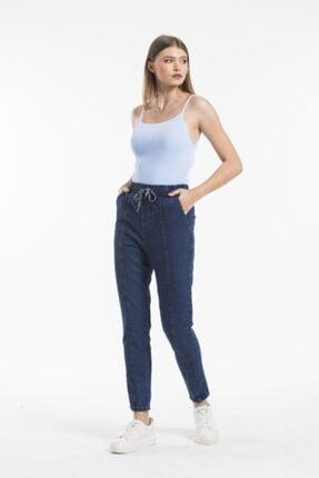 Sismo Butik Kadın Koyu Mavi Belden Lastikli ve İpli Likrasız Jeans 2