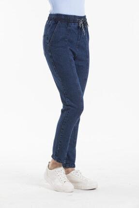 Sismo Butik Kadın Koyu Mavi Belden Lastikli ve İpli Likrasız Jeans 3