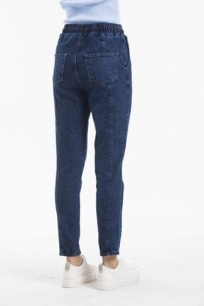 Sismo Butik Kadın Koyu Mavi Belden Lastikli ve İpli Likrasız Jeans 4