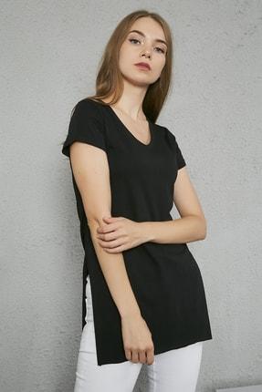 Sateen Kadın Siyah V Yaka Yırtmaçlı Uzun Tshirt 1
