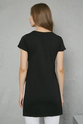 Sateen Kadın Siyah V Yaka Yırtmaçlı Uzun Tshirt 3