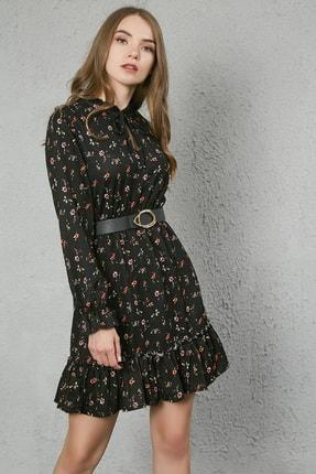Sateen Kadın Siyah Yaka Bağcıklı Uzun Kol Elbise 1