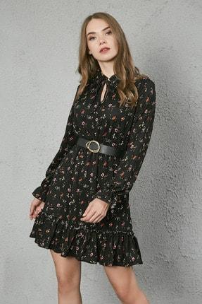 Sateen Kadın Siyah Yaka Bağcıklı Uzun Kol Elbise 2
