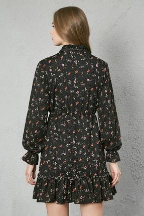 Sateen Kadın Siyah Yaka Bağcıklı Uzun Kol Elbise 3