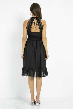 Sateen Kadın Siyah Dantelli Sırtı Açık Elbise 2