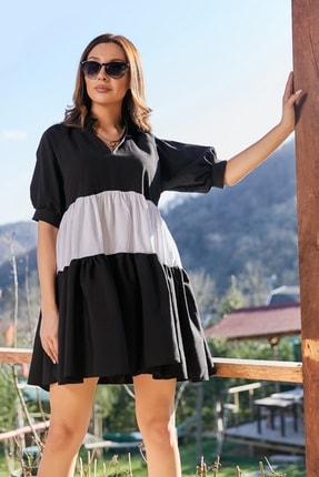 Sateen Kadın Siyah Volanlı Salaş Mini Elbise 1