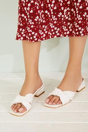 Sateen Kadın Beyaz Kısa Topuklu Terlik 0