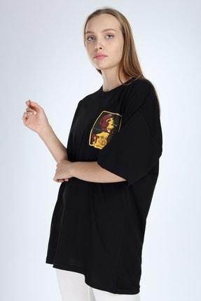 Millionaire Kadın Siyah Stop Baskılı Oversize T-Shirt 0