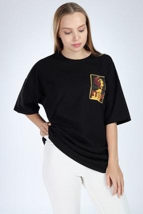 Millionaire Kadın Siyah Stop Baskılı Oversize T-Shirt 2