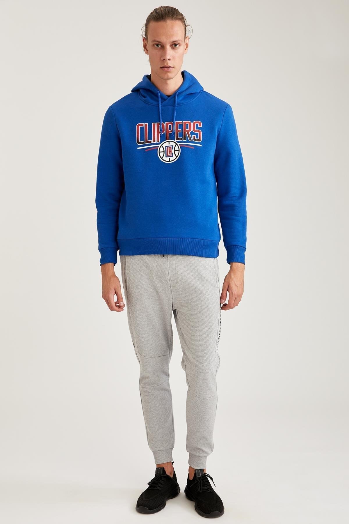 Defacto Fit Erkek Nba Lisanslı Unisex Kapüşonlu Slim Fit Sweatshirt 1