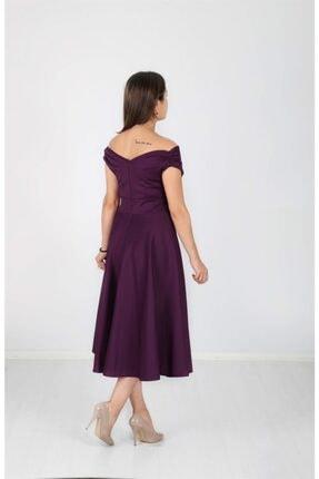 giyimmasalı Kayık Yaka Midi Elbise - Patlıcan Mor 2