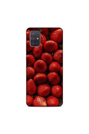 Pickcase Samsung Galaxy A71 Kılıf Desenli Arka Kapak Çilekler 0