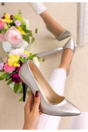 Trendypazar Kadın Gümüş Cilt Stiletto Ayakkabı 1