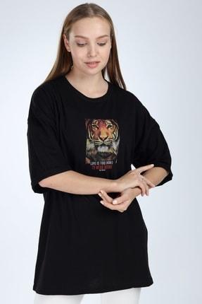 Millionaire Kadın Siyah To Wear Boring Baskılı Oversize T-Shirt 2