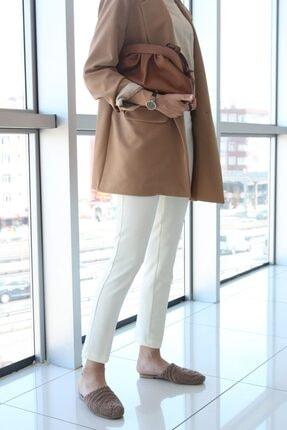 ALLDAY Kadın Ekru Fermuarlı Pantolon 4