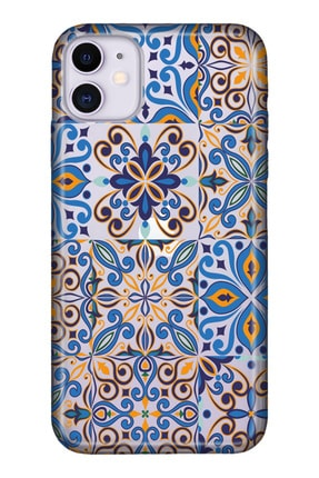 """Cekuonline Iphone 12 6.1"""" Tıpalı Kamera Korumalı Silikon Kılıf - Mavi Geo 0"""