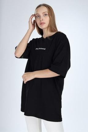Millionaire Kadın Siyah Stay Antisocial Baskılı Oversize T-shirt 0