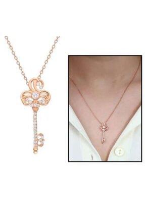 Online Hediye Sepeti Beyaz Zirkon Taşlı Anahtar Tasarım 925 Ayar Gümüş Bayan Kolye 0