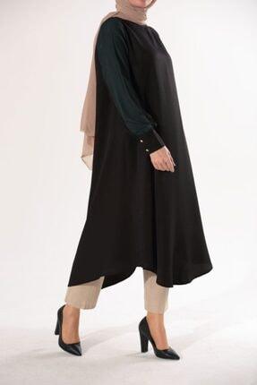 Ekrumoda Kadın Siyah Kolu Tüllü Tunik 0