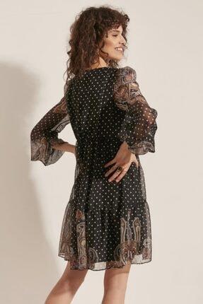 say Kadın V Yaka Etek Ucu Şal Desenli Elbise 3