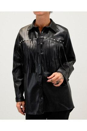 Shoppingdimoda Kadın Siyah Püskül Taşlı Detay Deri Gömlek 0