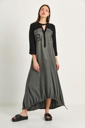 say Kadın Gri Balon Form Önden Patlı Uzun Elbise 1