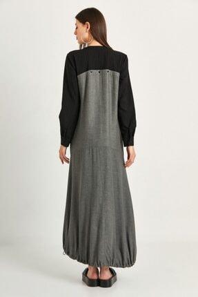 say Kadın Gri Balon Form Önden Patlı Uzun Elbise 3