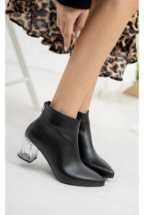 Moda Değirmeni Siyah Cilt Kadın Şeffaf Topuk Bot Md1050-116-0001 0