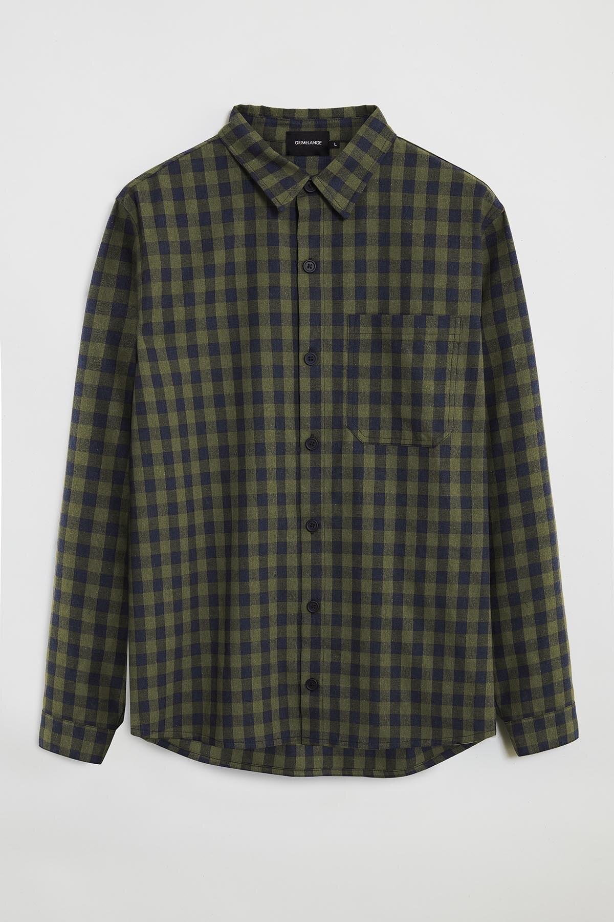 GRIMELANGE BRETT Erkek Yeşil Kareli Regular Gömlek 0