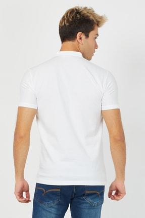 Tarz Cool Erkek Beyaz Hakim Yaka Pamuklu Slim Fit Likralı T-shirt - Ht001r04 3
