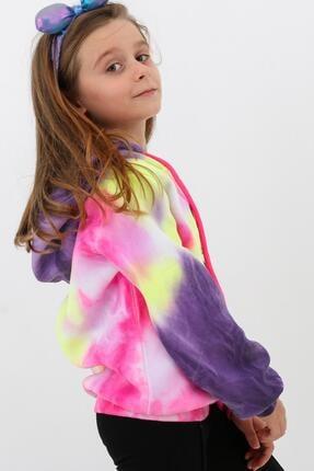 Enisena Mor Kız Cocuk Yıkamalı Kapşonlu Sweatshirt 3