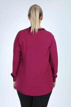 Lir Kadın Mor Büyük Beden Uzun Kol Biyeli V Yaka Bluz 4