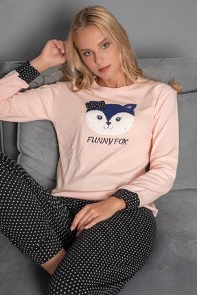 Kadın Somon Pamuklu Interlok Pijama Takimi FWN1014