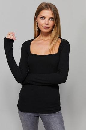 Cool & Sexy Kadın Siyah Kare Yaka Bluz EY1101 1
