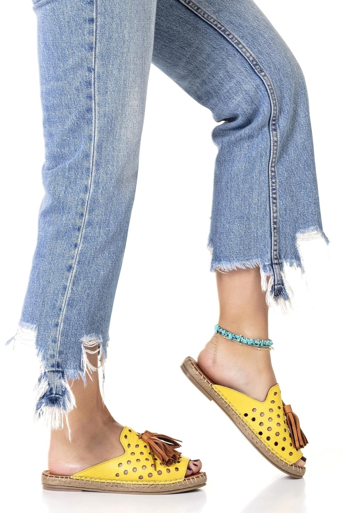 Vita Shoes Kadın Sarı Deri El Yapımı Terlik