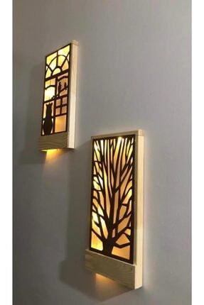 MSAĞWOODS Kahverengi Ledli Masif Ahşap Tablo Duvar Süsü 36x18  2 Li Set 2