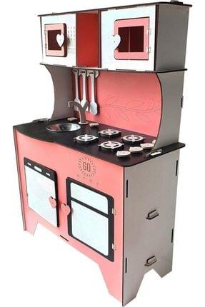 WoodyLife 104 Cm Çocuk Odası Ahşap Mutfak Montessori Oyuncak Dolabı Pembe Zeytindalı Oyunevi Kutu 1