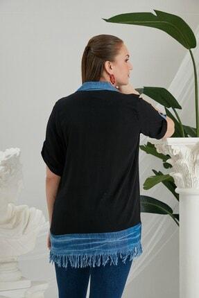 Rmg Zürafa Baskılı Püskül Detaylı Büyük Beden Siyah Gömlek 2