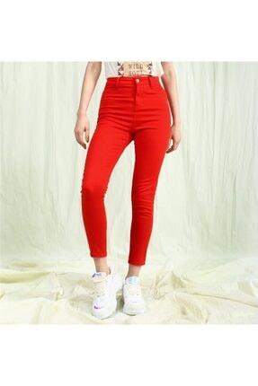 TAY STORE Kadın Kırmızı Yüksek Bel Skinny Pantolon 2