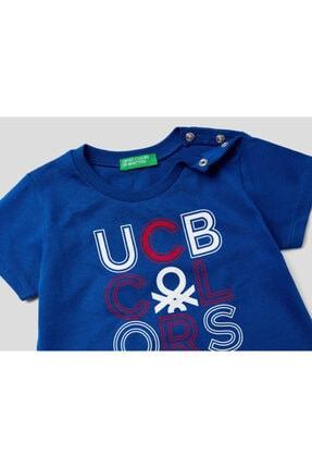 Benetton Erkek Çocuk Lacivert Yazılı Tshirt 012 1