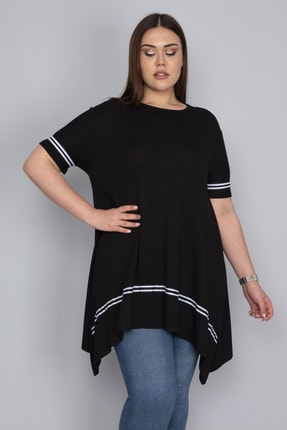 Şans Kadın Siyah Şerit Detaylı Asimertik Tunik 65N23133 0