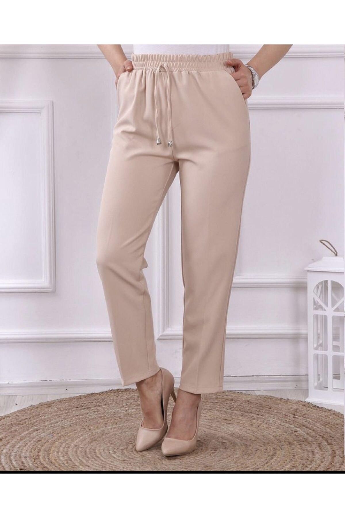 Kadın Taş Rengi Beli Lastikli Kumaş Pantolon