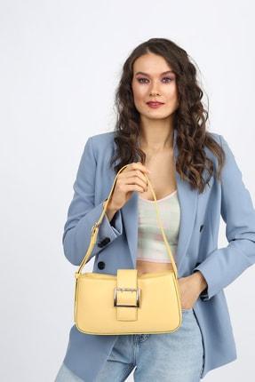 Madamra Aynı Butikte 2. Ürün 1 TL Sarı Kadın Kemerli Baguette Omuz Çantası 3