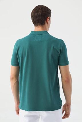 D'S Damat Erkek Yeşil Regular Fit Pike Dokulu T-shirt 3