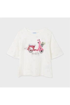 Kız Çocuk Bej Pullu Tshirt TX72E3E7326452