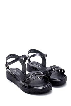 Derimod Kadın Siyah Deri Sandalet 2