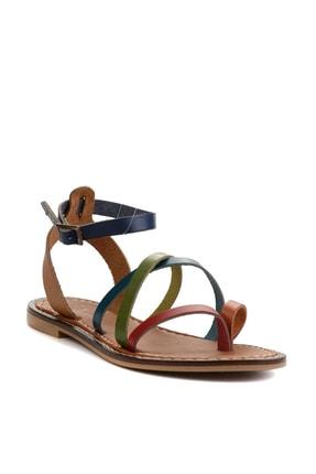 Bambi Hakiki Deri Çok Renkli Kadın Sandalet L0602809503 2
